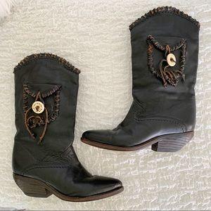 Zodiac Vintage Boho Black Leather Pocket Boots